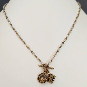 Charming vintage Santa and Snowman charm necklace